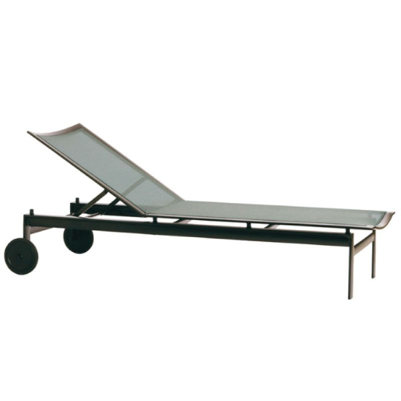 BROWN JORDAN PARKWAY PARABOLIC SLING ADJUSTABLE CHAISE WITH WHEELS