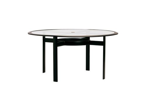 BROWN JORDAN PARKWAY 54 ROUND UMBRELLA DINING TABLE WITH GLASS TOP