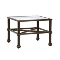 CAMPAIGN SQUARE COFFEE TABLE WITH GLASS TOP