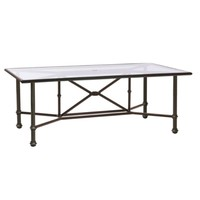 CAMPAIGN 44 X 78 DINING TABLE WITH GLASS TOP AND UMBRELLA HOLE