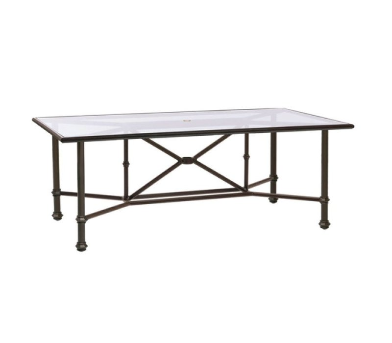 CAMPAIGN 44 X 78 DINING TABLE WITH UMBRELLA HOLE - CLEAR GLASS
