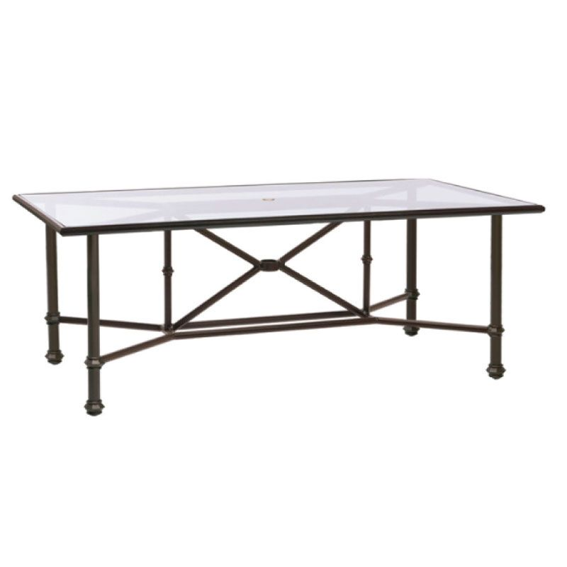 BROWN JORDAN CAMPAIGN 44 X 78 DINING TABLE WITH UMBRELLA HOLE - CLEAR GLASS