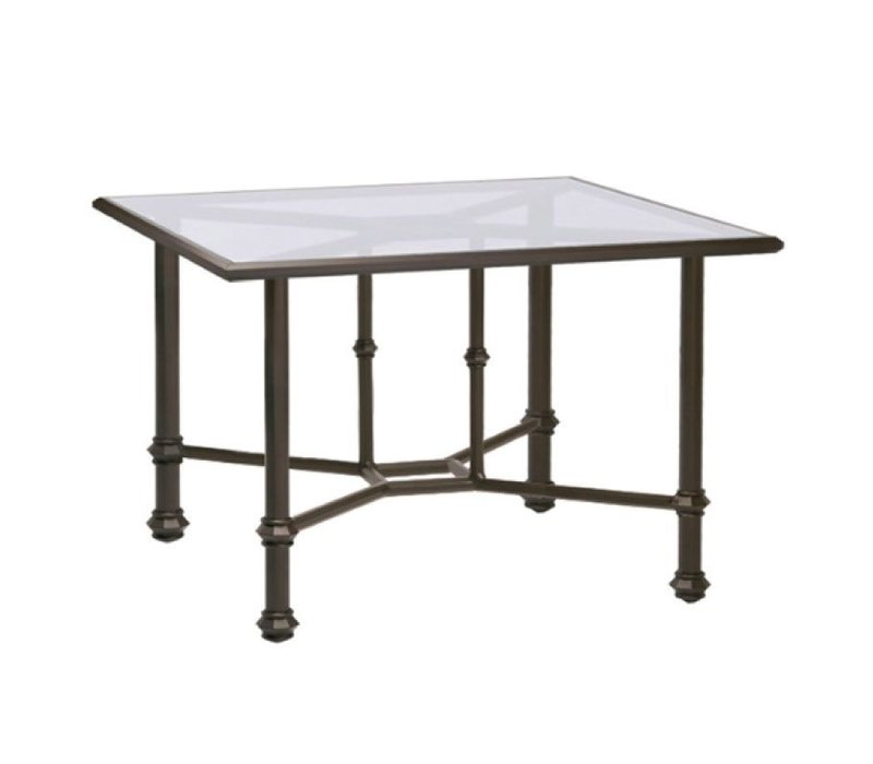 CAMPAIGN 42 SQUARE DINING UMBRELLA TABLE - CLEAR GLASS