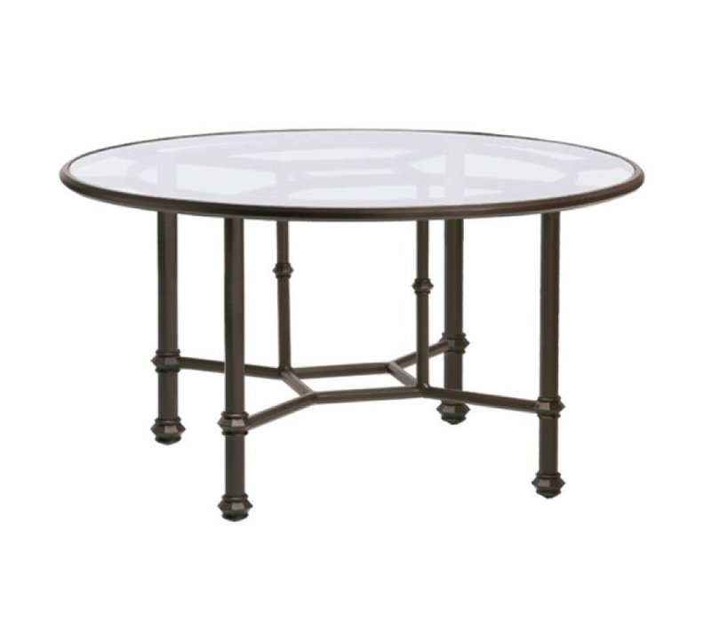 CAMPAIGN 54 ROUND DINING TABLE  GLASS TOP