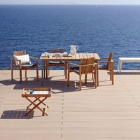 AMAZE FOLDING TRAY TABLE TEAK W/WHITE ALUMINUM