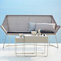 BREEZE 2-SEATER LOUNGE SOFA IN WHITE GREY CANE-LINE FIBRE