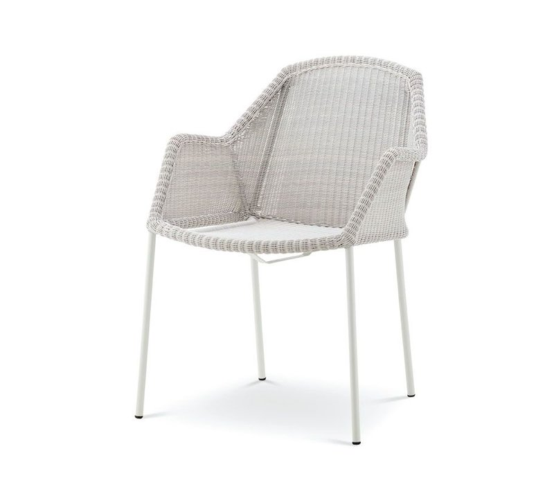 BREEZE DINING CHAIR, STACKABLE WHITE GREY, CANE-LINE FIBRE