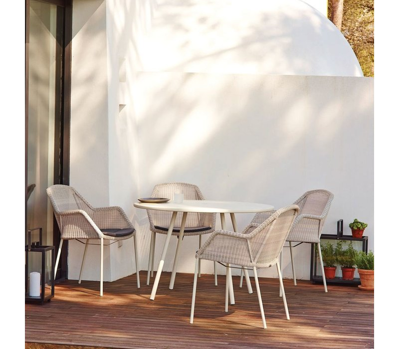 BREEZE STACKABLE ARMCHAIR IN WHITE GREY CANE-LINE FIBRE