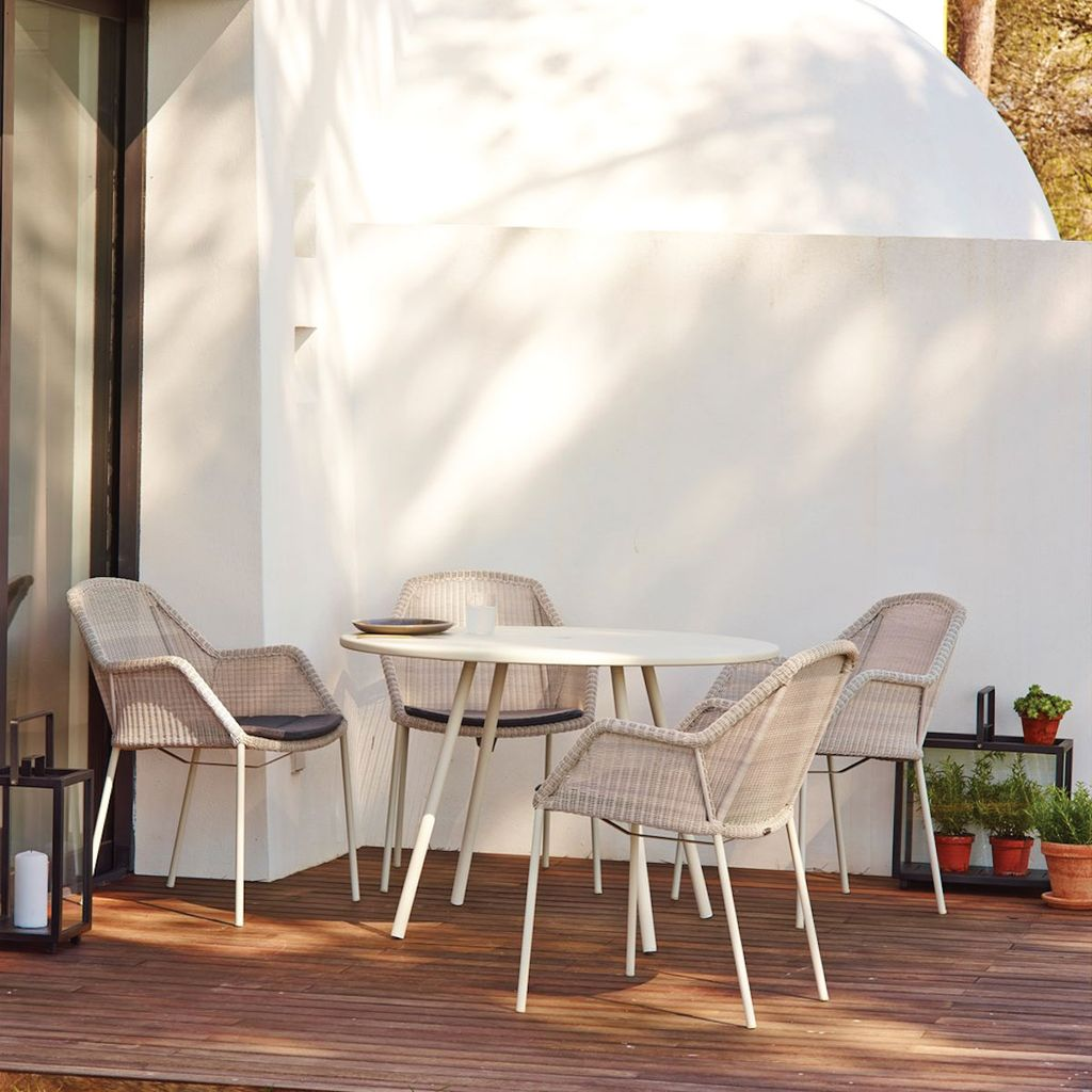 CANE-LINE BREEZE DINING CHAIR, STACKABLE WHITE GREY, CANE-LINE FIBRE