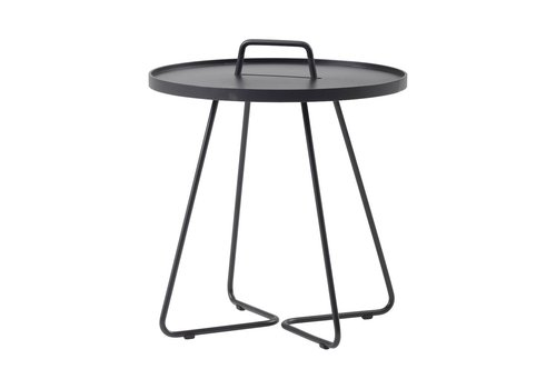 CANE-LINE ON-THE-MOVE SIDE TABLE, LARGE IN BLACK