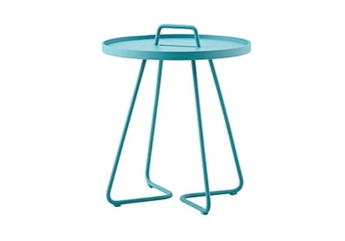 CANE-LINE ON-THE-MOVE SIDE TABLE, SMALL IN AQUA