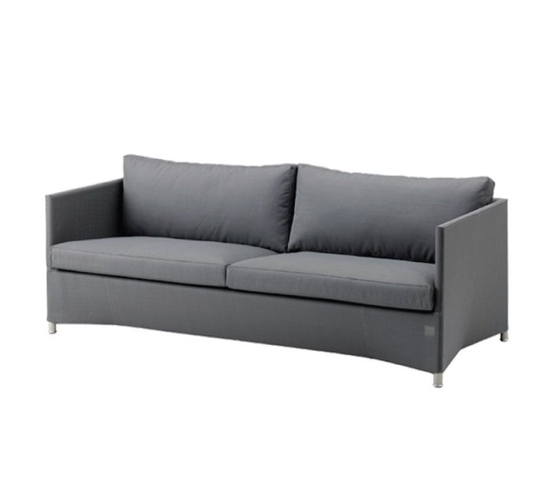 DIAMOND 3 SEATER SOFA INCL. TEX CUSHION GREY, CANE-LINE TEX