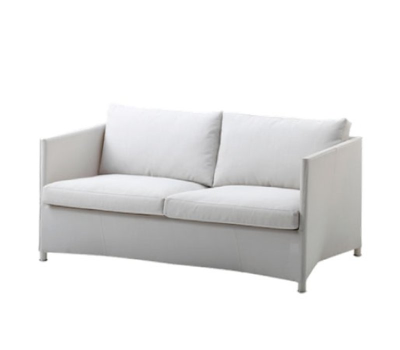 DIAMOND 2-SEATER SOFA IN WHITE TEX WITH CUSHIONS IN WHITE TEX