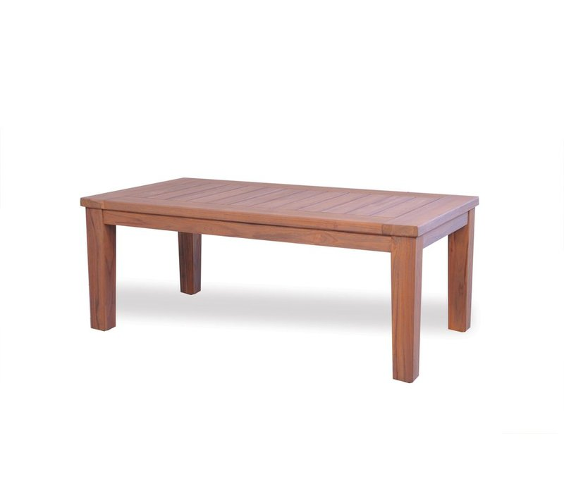 TEAK 45x24 COCKTAIL TABLE WITH TAPERED LEG- ANTIQUE GRAY