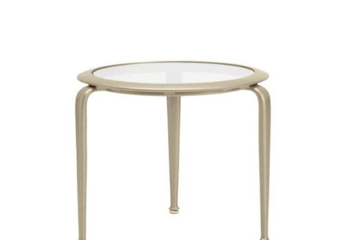 BROWN JORDAN FLIGHT 21 ROUND OCCASIONAL TABLE, GLASS OR PERFORATED TOP