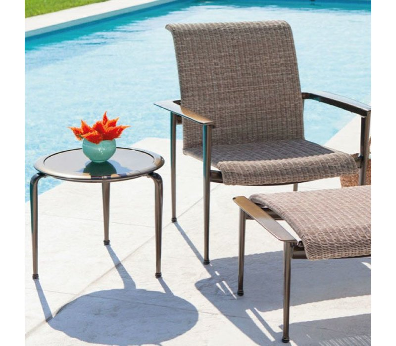 FLIGHT 21 ROUND OCCASIONAL TABLE, GLASS OR PERFORATED TOP