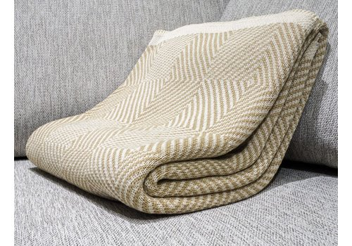 POLY THROW WOVEN SQUARE KHAKI, MILK WITH MILK BORDER,
