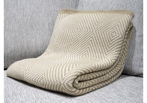 POLY THROW WOVEN SQUARE KHAKI, MILK WITH KHAKI BORDER
