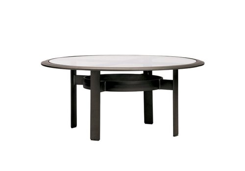 BROWN JORDAN PARKWAY 45 INCH ROUND CHAT TABLE WITH GLASS TOP