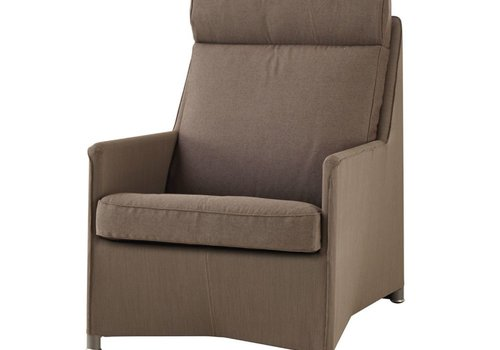 CANE-LINE DIAMOND HIGHBACK CHAIR W/SUNBRELLA NATTE CUSHION BROWN, CANE-LINE TEX