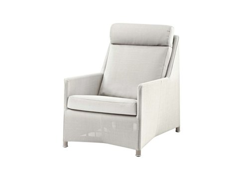 CANE-LINE DIAMOND HIGHBACK CHAIR IN WHITE TEX WITH CUSHIONS IN WHITE CANE-LINE TEX