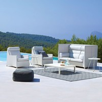 DIAMOND HIGHBACK CHAIR WITH CUSHIONS IN WHITE, CANE-LINE TEX