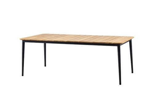 CANE-LINE CORE DINING TABLE - LAVA GREY ALUMINUM FRAME/ TEAK TOP