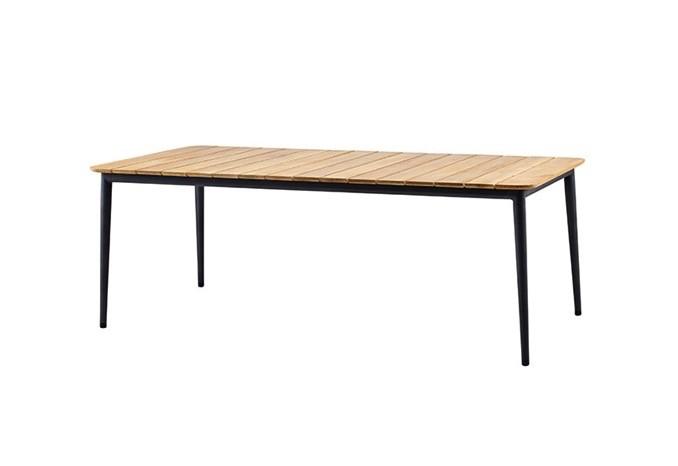 CANE-LINE CORE DINING TABLE - LAVA GREY ALUMINUM FRAME/ TEAK TOP
