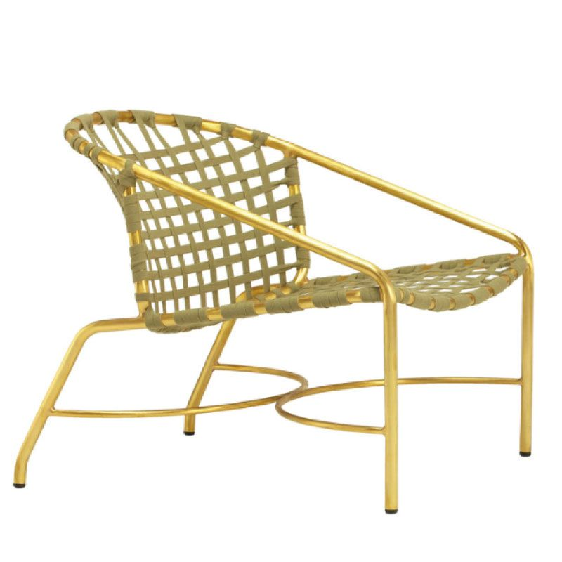 Superbe KANTAN BRASS LOUNGE CHAIR WITH SUNCLOTH STRAP