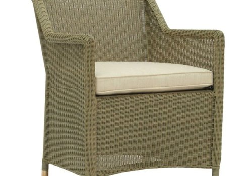 BROWN JORDAN SOUTHAMPTON ARM CHAIR IN SAGE WITH GRADE A FABRIC
