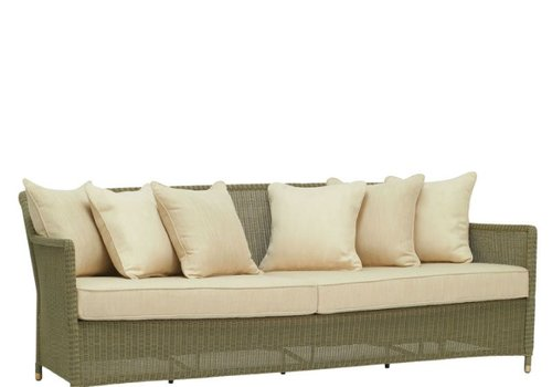 BROWN JORDAN SOUTHAMPTON SOFA IN SAGE WITH 6 BACK PILLOWS AND 2 SEAT CUSHIONS IN GRADE A FABRIC