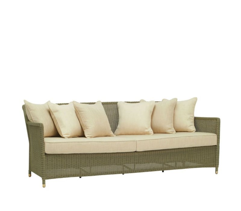 SOUTHAMPTON SOFA IN SAGE WITH 6 BACK PILLOWS AND 2 SEAT CUSHIONS IN GRADE A FABRIC