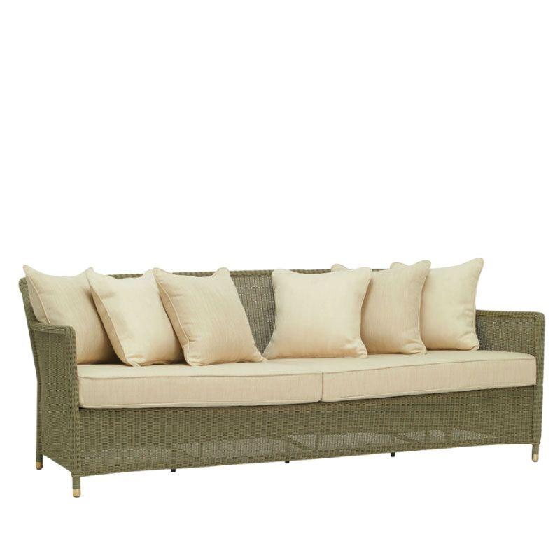 Brown jordan southampton sofa in sage with 6 back pillows for Sofa jordsand