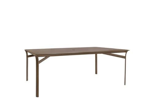 BROWN JORDAN PASADENA 45 x 79 DINING TABLE WITH SOLID TOP AND UMBRELLA HOLE