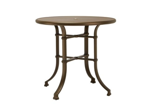 BROWN JORDAN FREMONT 42 ROUND BAR UMBRELLA TABLE WITH SOLID ALUMINUM TOP