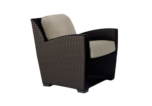 BROWN JORDAN FUSION PILLOW BACK LOUNGE CHAIR IN BRONZE WITH GRADE A FABRIC