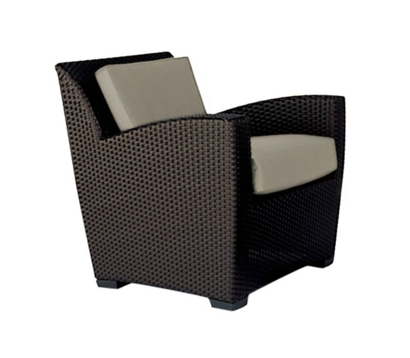 FUSION SLIM BACK CUSHION LOUNGE CHAIR IN BRONZE WITH GRADE A FABRIC
