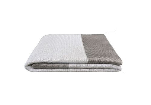 CANE-LINE PLAID THROW IN DUSTY WHITE COLOR