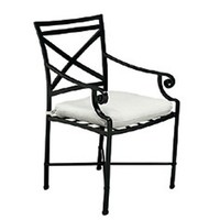 VENETIAN ARM CHAIR WITH SEAT CUSHION IN GARDE A FABRIC