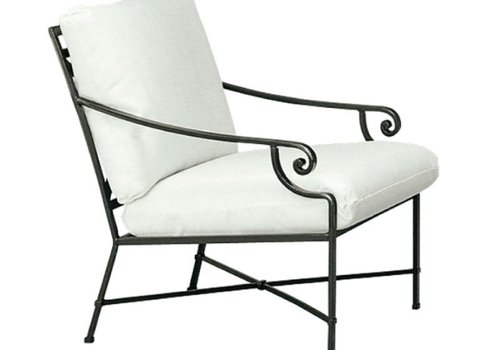BROWN JORDAN VENETIAN LOUNGE CHAIR WITH SEAT AND BACK CUSHIONS IN GARDE A FABRIC