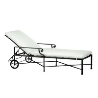 VENETIAN CHAISE WITH WHEELS / CUSHION IN GARDE A FABRIC
