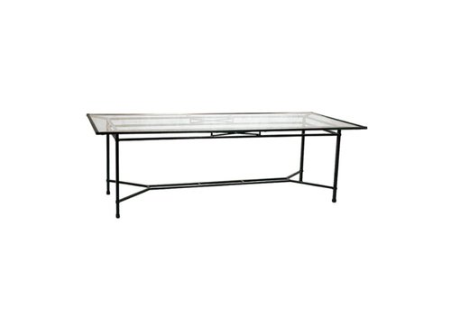 BROWN JORDAN VENETIAN 44 x 98 DINING TABLE WITH GLASS TOP