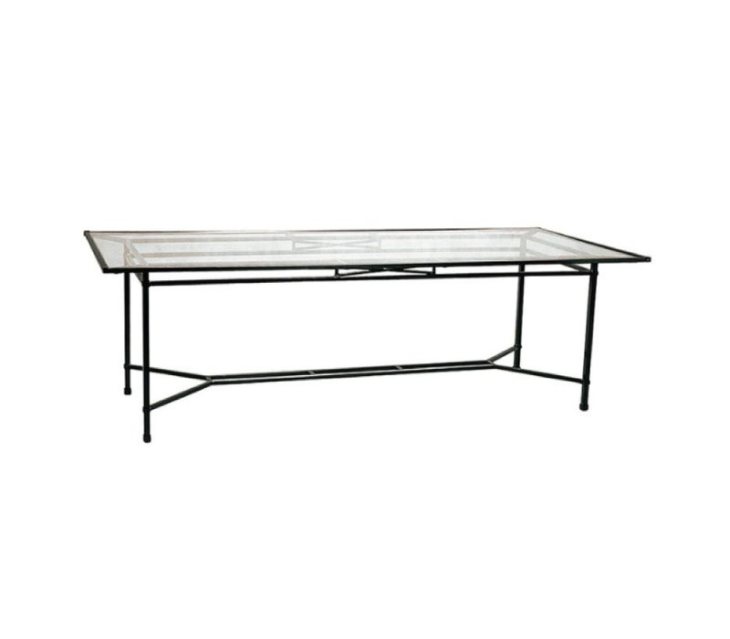 VENETIAN 44 x 98 DINING TABLE WITH GLASS TOP