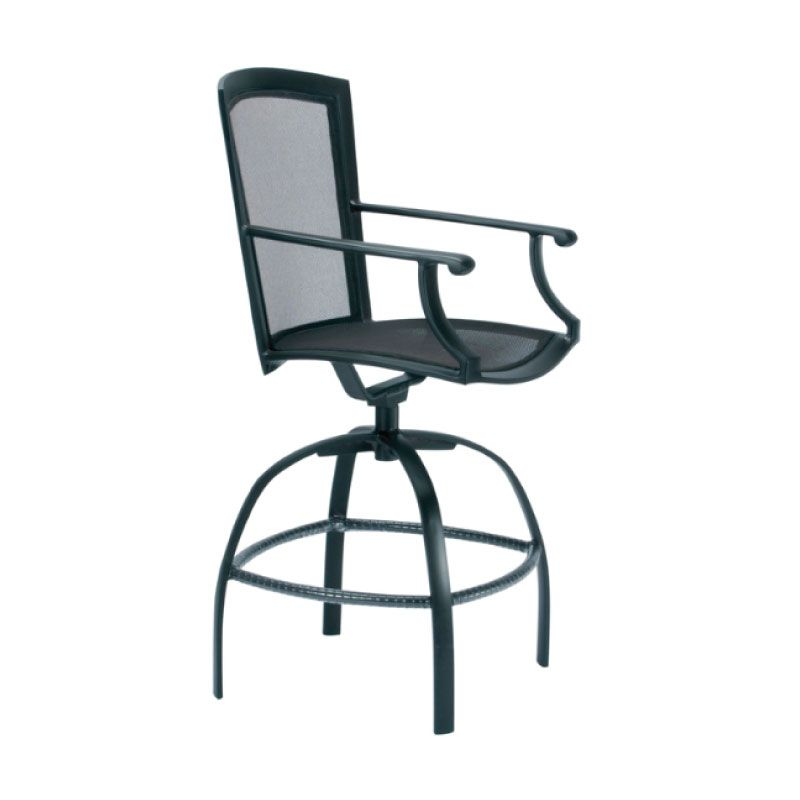 brown jordan coast swivel bar chair with arms parabolic sling