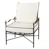 LOUNGE CHAIR IN EPOXY COATED STEEL WITH CUSHION IN SUNBRELLA FABRIC