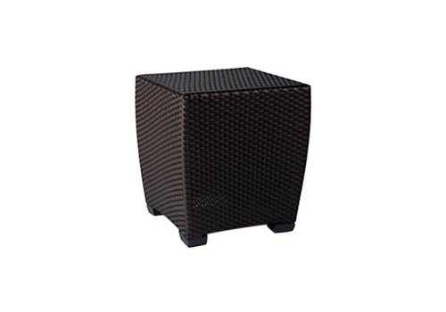 BROWN JORDAN FUSION 19 INCH SQUARE WOVEN OCCASIONAL TABLE IN BRONZE