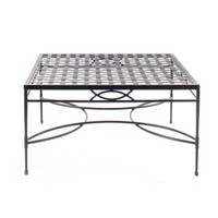 36 INCH SQUARE COFFEE TABLE WITH WOVEN TOP IN EPOXY COATED STEEL