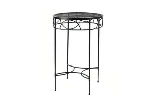 AMALFI LIVING 28 INCH ROUND BAR TABLE WITH MESH TOP IN EPOXY COATED STEEL