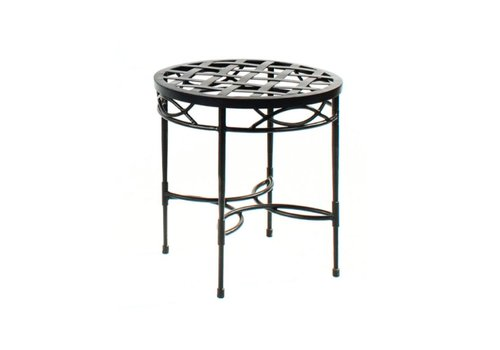 AMALFI LIVING 20 INCH ROUND SIDE TABLE WITH WOVEN TOP - EPOXY COATED STEEL