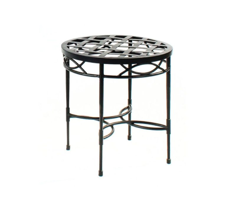 AMALFI ROUND SIDE TABLE  WITH WOVEN TOP